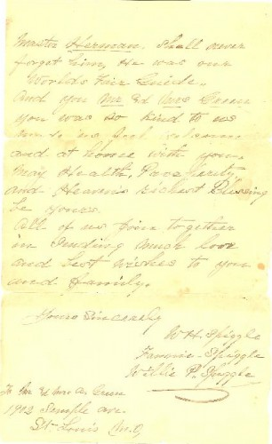 November 28, 1904 Letter to Abraham and Bessie Green from W. H., Fannie, and Willie P. Spiggle, page 2 of 2.