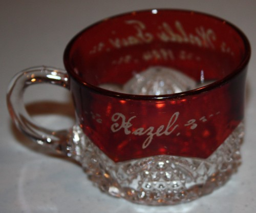 "Souvenir of 1904 St. Louis World's Fair-Pressed Ruby Glass Punch Cup-back with name ""Hazel."""