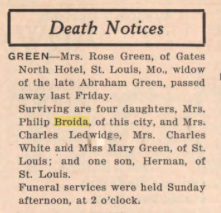 Obituary of Rose Braef (Brave) Green in The American Jewish Outlook [Pittsburgh PA], Friday, January 10, 1936. Vol. 3, No. 5, Page 11. Posted with kind permission of the Pittsburgh Jewish Newspaper Project.