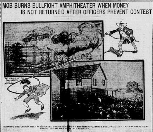 This photoillustration from the front page of the June 6, 1904 issue of the St. Louis Republic newspaper illustrates the burning of the Norris Amusement Company arena during the St. Louis bullfight riot contemporary to the 1904 World's Fair. Via Wikimedia, public domain.