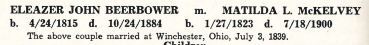 "Eleazer John Beerbower and Matilda L. McKelvey- marriage information from ""House of Bierbauer- Two Hundred Years of Family History"" by JC Culver and CW Beerbower, 1942, page 146."