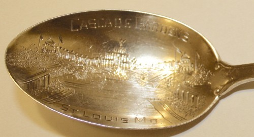 1904 Louisiana Exposition Souvenir- Spoons- Cascade Gardens; Sterling from Mermod-Jaccard, a St. Louis fine jeweler. (Click to enlarge.)