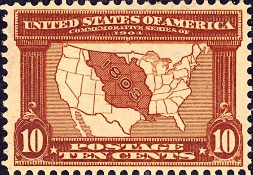 Louisiana Purchase commemorative stamp issued in 1903 for 10 cents. Via Wikimedia, public domain.