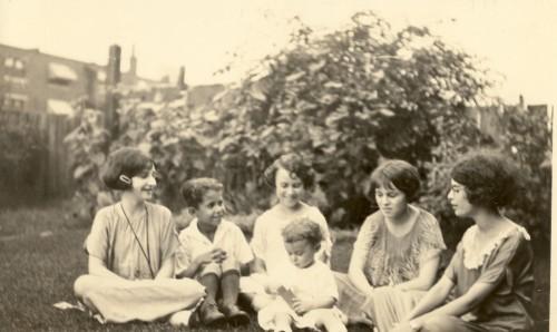 "The Green Family Grandchildren, circa 1925. Likely taken in St. Louis, Missouri. From left: Gertrude Broida, Preston Green, Helen D. ""Sis"" Ledwidge with Harold Green in front, and Sarah Jane Ledwidge."