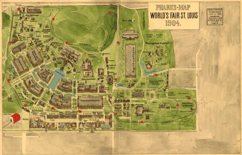 Map of 1904 Louisiana Purchase Exposition. Via Wikimedia, public domain.