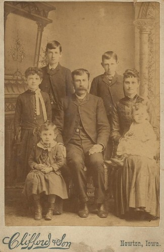 "McMurray-Benjamin Family circa 1886: Frederick Asbury McMurray, Hannah ""Melissa"" Benjamin McMurray, William Elmer McMurray, Harry J. McMurray, Addie Belle McMurray, Roy McMurray, and Ray McMurray (baby)"