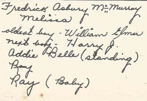 Reverse of circa 1886 McMurray-Benjamin Family