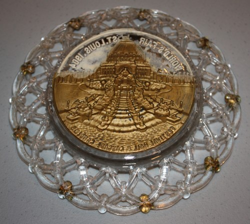 1904 St. Louis World's Fair Goofus Glass Plate Souvenir- Festival Hall and Cascade Gardens- reverse
