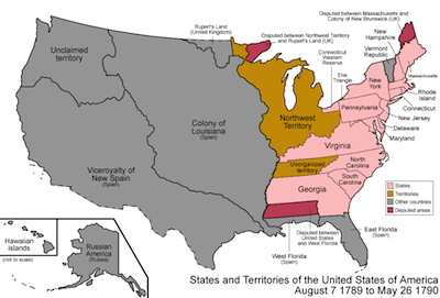 States & territories of the US 1789-1790