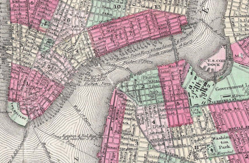 1866 Johnson Map of New York City and Brooklyn, NY