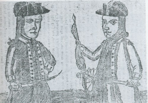 """Shays's Rebellion."" The portraits of Daniel Shays and Job Shattuck, leaders of the Massachusetts ""Regulators, from ""Bickerstaff's Boston Almanack of 1787, National Portrait Gallery, Smithsonian Institution. via Wikimedia, public domain."
