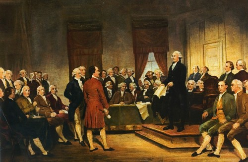 Washington at Constitutional Convention of 1787, signing of U.S. Constitution. via Wikipedia, public domain.