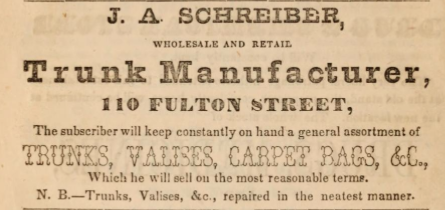 Trunk Manufacturer Advertisement in Hearnes Brooklyn City Directory for 1850-1851