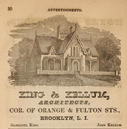 King & Kellum, Architects, Ad, Brooklyn, NY. From Hearnes Brooklyn City Directory for 1850-1851 via InternetArchive.