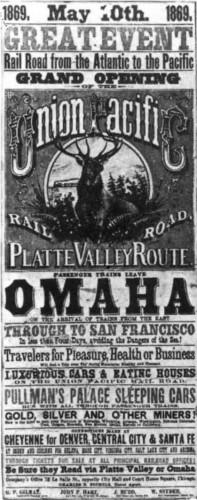 Transcontinental railroad poster, 1869, via Wikimedia. Public domain.