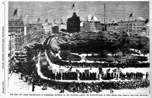 First Labor Day Parade in the US, 5 Sep 1882 in New York City. Via Wikimedia.