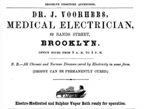 1857 Medical Electrician advertisement, appendix- no page, in Smiths Brooklyn Directory for yr ending May 1 1857, via InternetArchive. (Click to enlarge.)