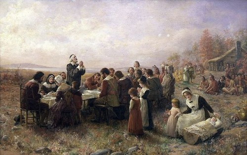 Jennie Augusta Brownscombe, The First Thanksgiving at Plymouth, 1914, Pilgrim Hall Museum, Plymouth, Massachusetts. via Wikipedia, public domain.