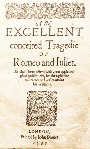 Title page of the first edition of Romeo and Juliet by William Shakespeare, 1597. Wikimedia, public domain in USA.(Click to enlarge.)