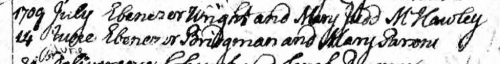 14 June 1709- Ebenezer Bridgman and Mary Parson, Marriages, Massachusetts Town & Vital Records, Northampton, page 110.