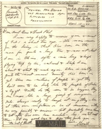 V-mail from Lt. Gerald D. Broida, 15 April 1944, to Bess (Green) and Phillip Broida.