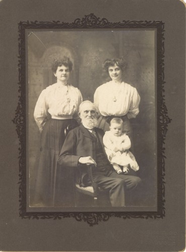 Four Generations of Springsteens: Jefferson Springsteen, seated, with his great-grandson William Helbling. Standing on left is Jefferson's daughter Anna Missouri (Springsteen) Beerbower, and her daughter, Anna May (Beerbower) Helbling, mother of little William.
