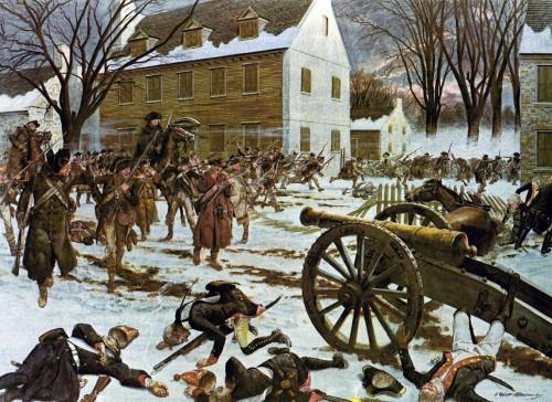 Battle of Trenton by Charles McBarron, via Wikimedia; public domain.
