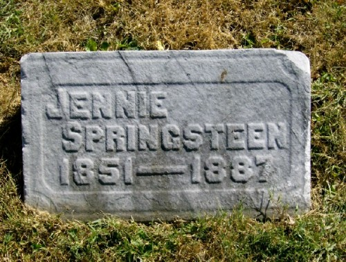Jennie (Taylor) Springsteen- headstone in Crown Hill Cemetery, Indianapolis, IN. Used with kind permission of the Find a Grave photographer.