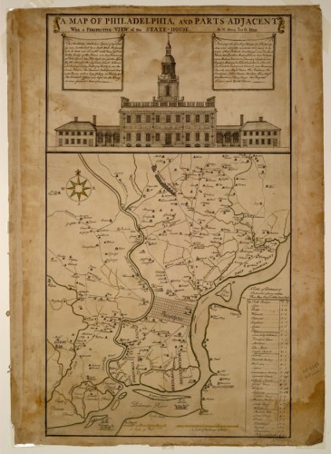 A Map of Philadelphia and Parts Adjacent, With A Perspective View of the State House. Philadelphia: Lawrence Hebert, 1752 source: http://hdl.loc.gov/loc.gmd/g3824p.ct000294 via Wikipedia. Public domain.