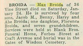 Max broida obituary in American Jewish Outlook on 30 Jan 1948, page 13, column 1. With kind permission of the Pittsburgh Jewish Newspaper Project.