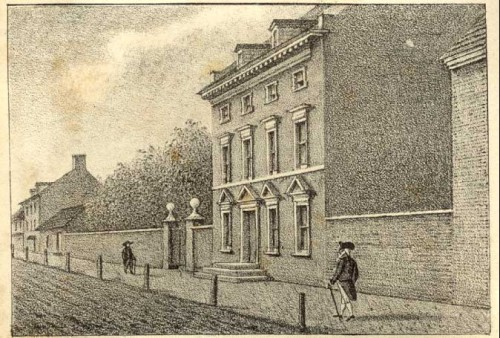 """""""Presidents House"""" at 524-30 Market St., in Philadelphia, Pennsylvania. The Hessians would have paraded before this home which was built in 1767. Later, Presidents Washington and John Adams lived in this home."""