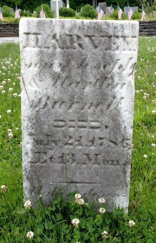 Headstone of Harvey Burnell, Center Cemetery, Chesterfield, Hampshire, Massachusetts. Posted with kind permission of FAG photographer.