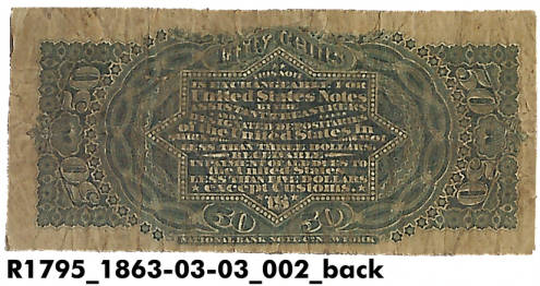 US currency- a fifty cent note used during the Civil War (reverse). Courtesy Indiana Historical Society. See notes for details.