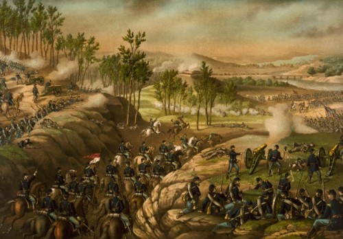 Battle of Resaca- Union cavalry moving through a gap to attack Confederate infantry. Kurz & Allison, c1889, Library of Congress via Wikipedia. Public domain.