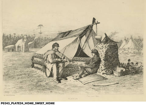 """""""Home Sweet Home"""" by Edwin Forbes. Courtesy Indiana Historical Society. See notes for details."""