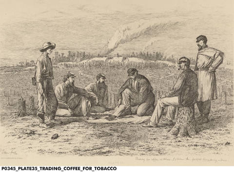 """""""Trading Coffee for Tobacco"""" by Edwin Forbes. Courtesy Indiana Historical Society. See notes for details."""