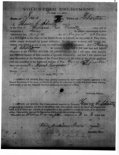 Enlistment of Henry Clay Christie, August 12, 1862. Civil War Enlistments, 34th Iowa Infantry, Co. D-1, JK 6360.6, A.3, C5, Reel 16, State Historical Society of Iowa.
