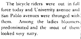 Bicycles & Bloomers, likely from the Berkeley Gazette, 1895.