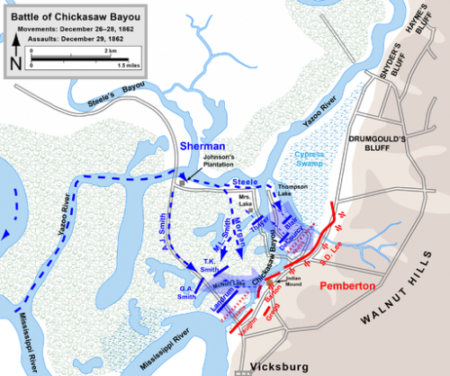 Battle of Chickasaw Bayou. This file is licensed under the Creative Commons Attribution 3.0 Unported license. Map by Hal Jespersen www.posix_.comCW