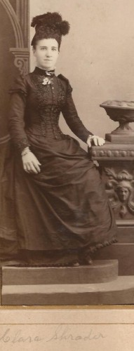 Clara Shrader, eventually wife of Isaac H. Roberts. From the Lloyd Roberts Family Photo Collection, cropped from picture with Eva Bennett.