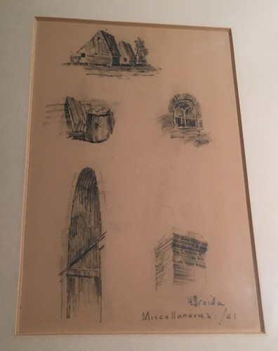 Architectural Drawings by Leonard Broida, 1961, framed image. Family treasure.