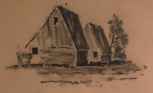 Leonard L. Broida- Barns and Wagon, close-up, 1961. Family treasure.
