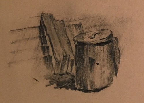 Leonard L. Broida- Trashcan by Building, close-up, 1961. Family treasure.