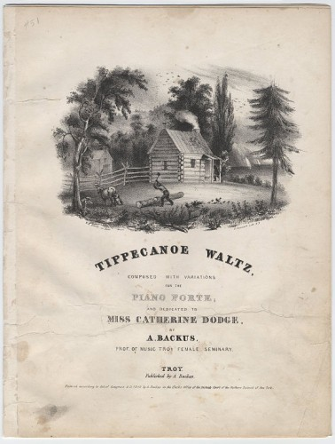 """Tippecanoe Waltz"" sheet music. Cornell University Collection of Political Americana, with kind permission of Cornell University Library; no restrictions."
