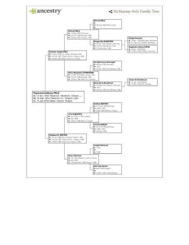 Raymond Anthony Pelz, Sr.- Family Tree