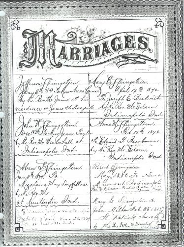 Page 3 of Springsteen Bible Family Records- Marriages.