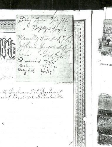 "Paper clipped to ""Memoranda,"" page 6 of the Springsteen Family Bible record pages."