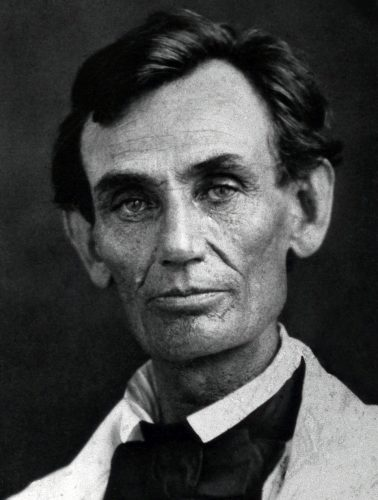 Abraham Lincoln in 1858. Ambrotype by Abraham Byers, Beardstown, Illinois, via Wikipedia; public domain.