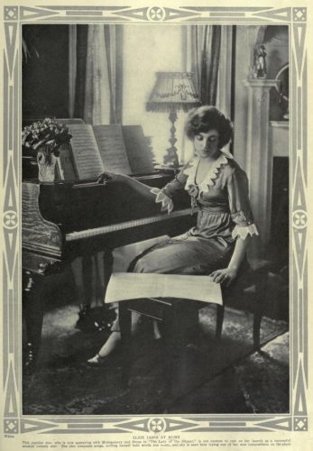 "Elsie Janis (Beerbower) in the April, 1913 magazine, ""Theatre""- 'At Home' section. There, Vol. 17, No. 146, Page 225, via Archive.org."