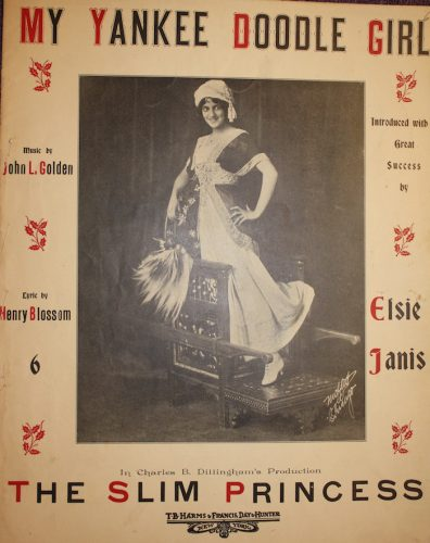 "Elsie Janis from cover of ""My Yankee Doodle Girl,"" a song from ""The Slim Princess."""